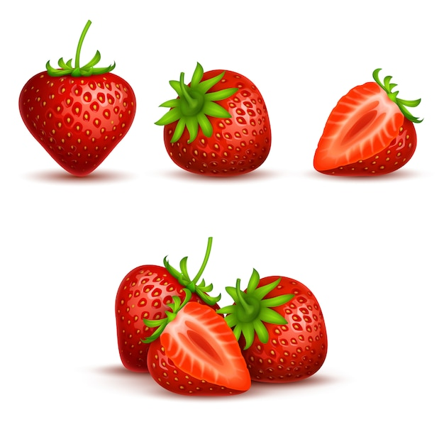 Vector realistic sweet and fresh strawberry isolated on white background. Premium Vector