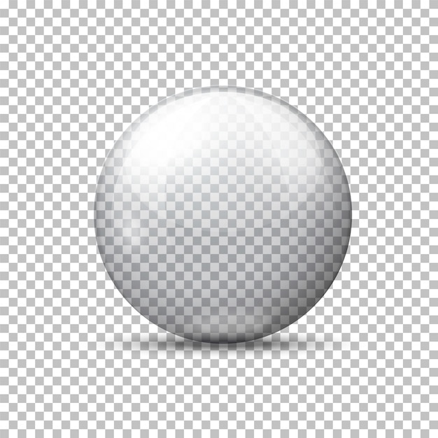 Vector realistic transparent ball, on plaid background. Premium Vector