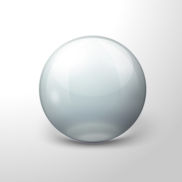 Vector realistic transparent ball, on white background. Premium Vector