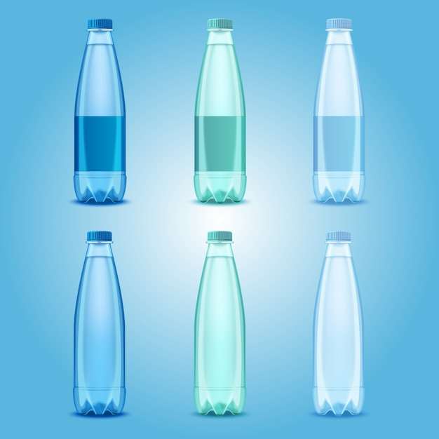 Vector realistic transparent plastic bottles with mineral water templates Premium Vector