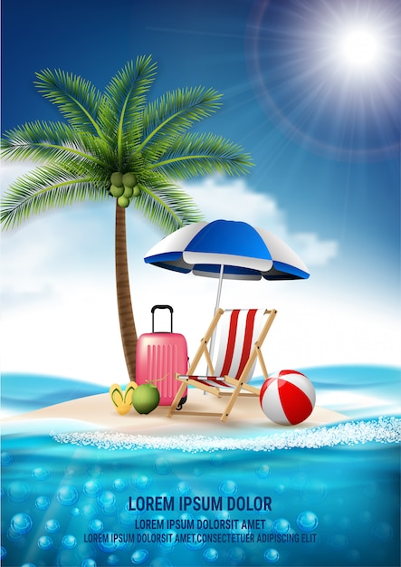 Vector realistic travel and summer beach vacation relax design. island is surrounded, sea, beach, umbrella, coconut, clouds, ball, luggage, beach chair Premium Vector