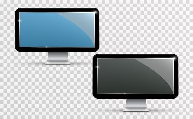 Вектор реалистичный экран телевизора. современная стильная жк-панель. большой дисплей монитора компьютера Premium векторы