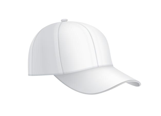 벡터 현실적인 흰색 야구 모자 측면보기 배경에 고립 무료 벡터