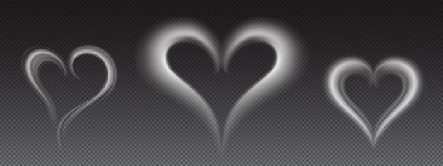 Vector realistic white smoke in heart shape Free Vector