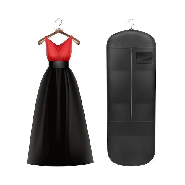 Vestito rosso di vettore e copertura antipolvere nera di stoccaggio sulla vista frontale del gancio isolata su fondo bianco Vettore gratuito