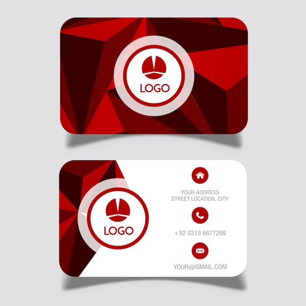 Дизайны визитных карточек vector red lowpoly Бесплатные векторы