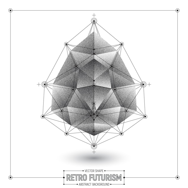 Vector retro futurism abstract polygonal shape Premium Vector