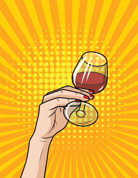 Vector retro illustration pop art comic style of a glass with red wine. hand with glass of alcohol Premium Vector