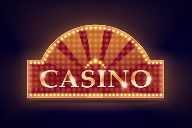 ポスター、チラシ、看板、ウェブサイト、黒の背景で隔離のギャンブルクラブのベクトルレトロオレンジイルミネーションカジノ看板 無料ベクター