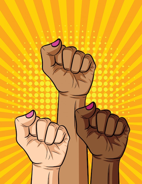 Vector retro pop art comic style illustration of women fist different nationalities and skin color. girl's power Premium Vector
