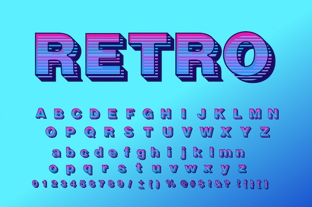 Vector retro typeface 3d bold typography sans serif style for poster Premium Vector