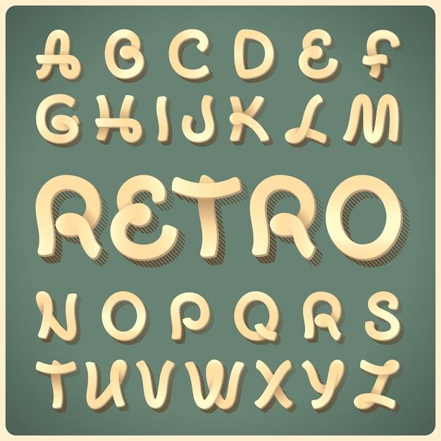 Carattere tipografico retrò vettoriale Vettore gratuito