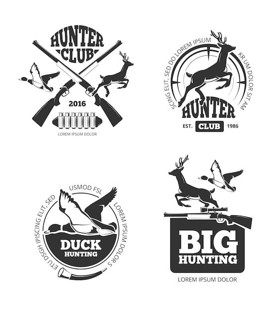 Vector retro vintage hunting labels Premium Vector