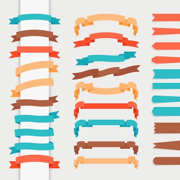 Vector ribbons in retro flat style for logos and emblems Premium Vector