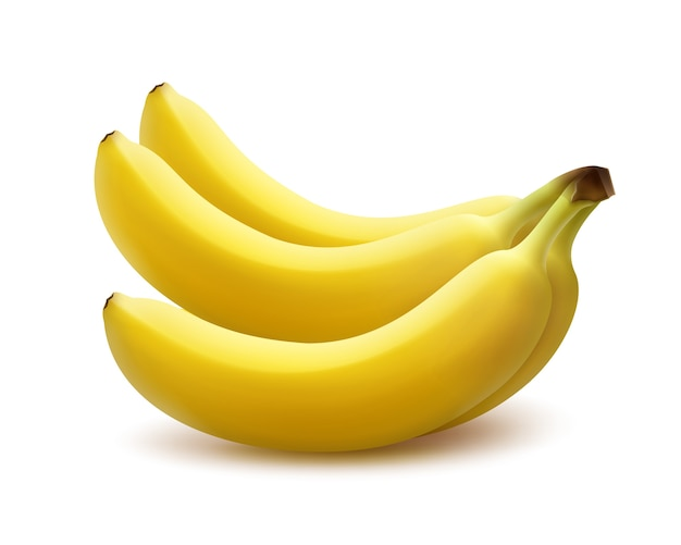 白い背景で隔離のベクトル熟した黄色のバナナの束 無料ベクター