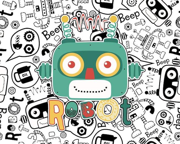 Vector of robot head cartoon on seamless pattern Premium Vector
