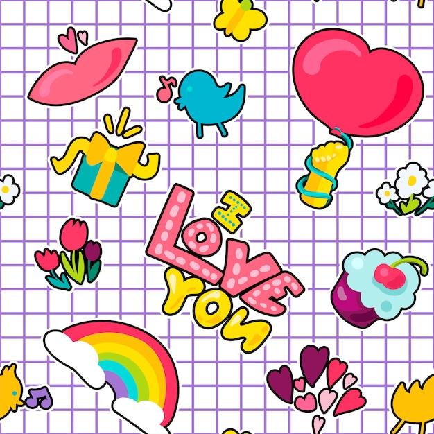 Vector romantic love patch in doodle style Premium Vector