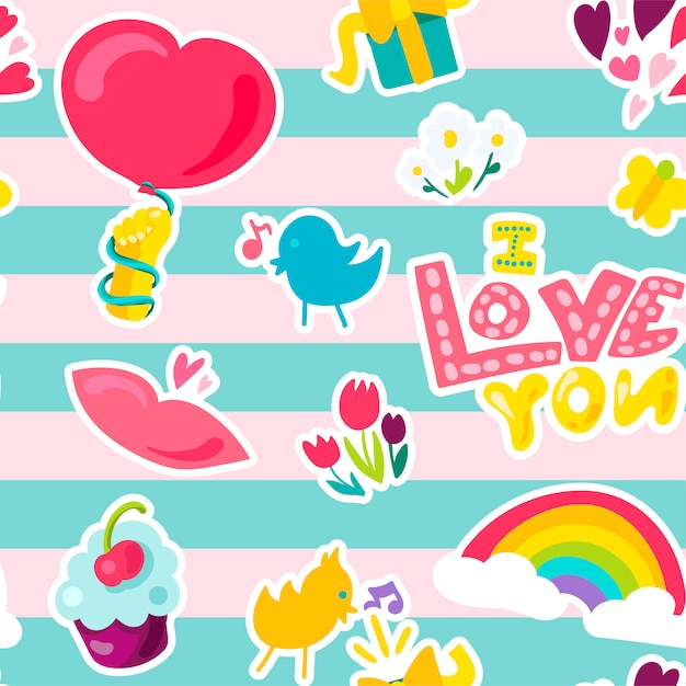 Vector romantic love seamless pattern Premium Vector