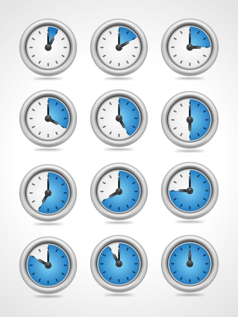 Vector round clock icons set isolated on white background Premium Vector