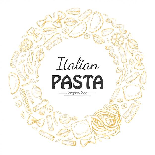 Vector round frame of italian pasta Premium Vector