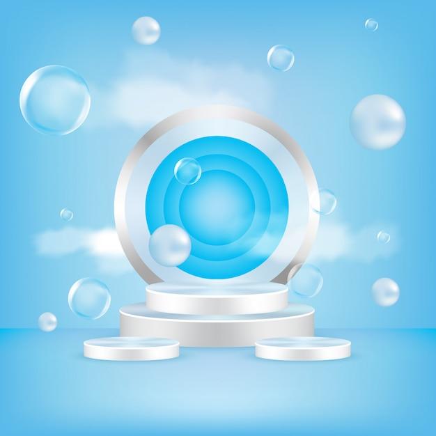벡터 둥근 연단, 받침대 또는 플랫폼, 화장품 제품 프리젠 테이션 배경. 프리미엄 벡터
