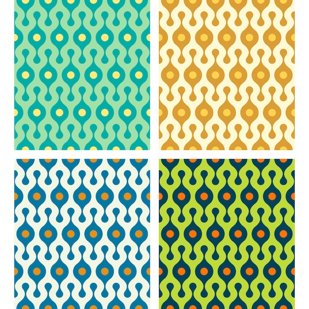 Vector rounded abstract seamless patterns set in various colors Premium Vector