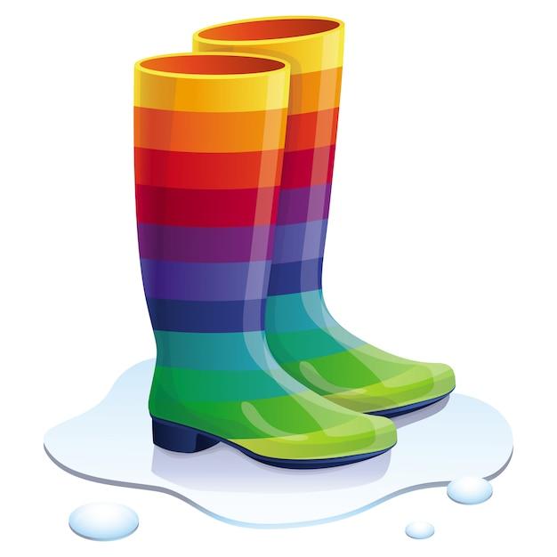 Vector rubbers boots in rainbow colors - bright trendy concept Premium Vector