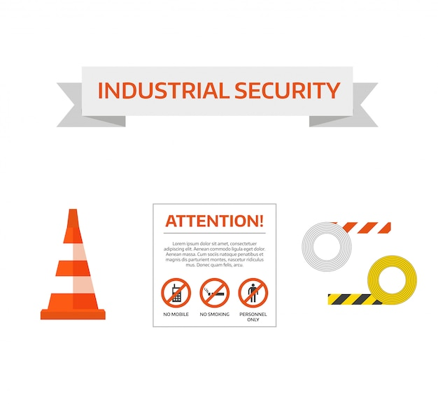 Vector safety first road sign under construction sign collection Premium Vector
