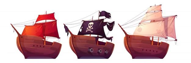 Barche a vela vettoriale con vele bianche, rosse e nere Vettore gratuito