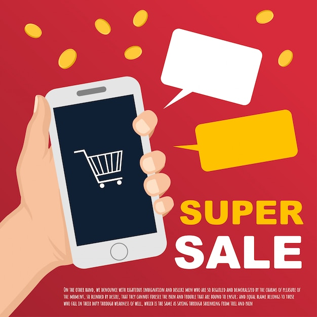 Vector sale banner with hand and smartphone Premium Vector