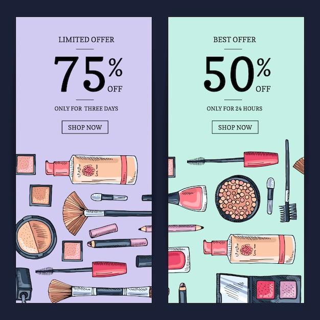 Vector sale banners for beauty shop Premium Vector
