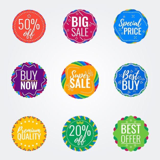 Vector sale colorful badges Premium Vector