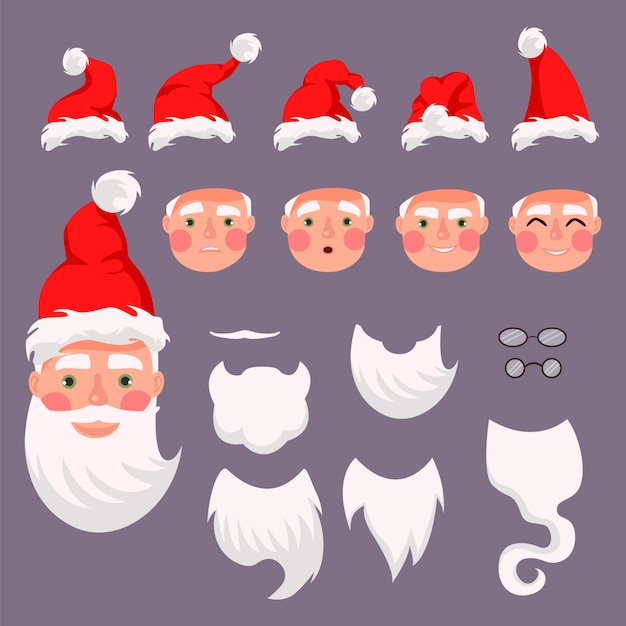 ベクトルサンタコンストラクター。サンタの帽子、口ひげ、あごひげ、メガネ。クリスマスと新年のグリーティングカードを作成します。 Premiumベクター