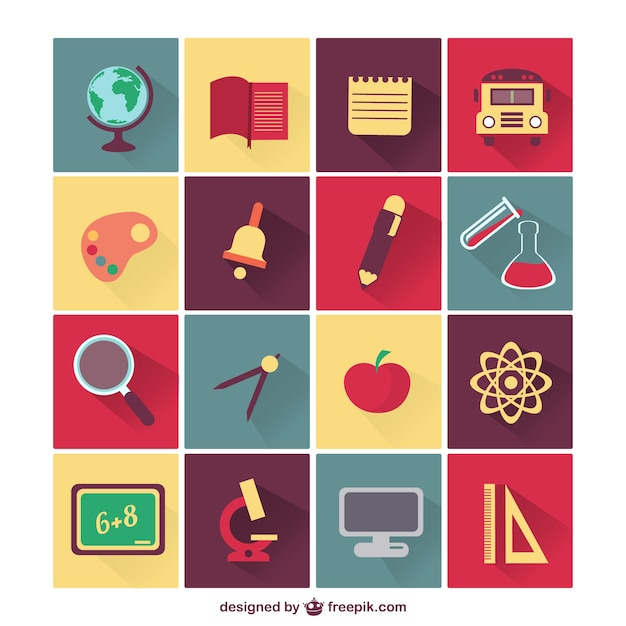 Education Icons Vector Free Download Vector School Education Icons