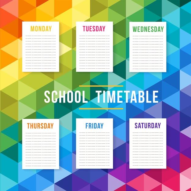 Vector school timetable Premium Vector