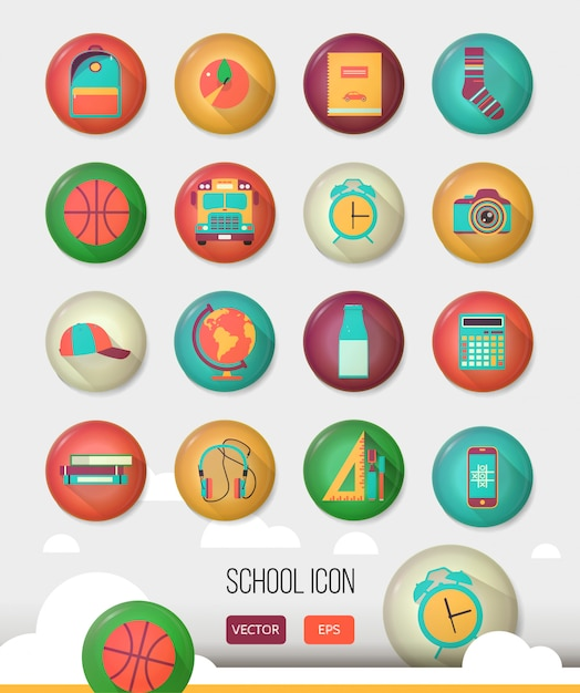 Vector school workspace. Premium Vector