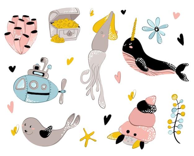 Vector sea animal, underwater world Premium Vector