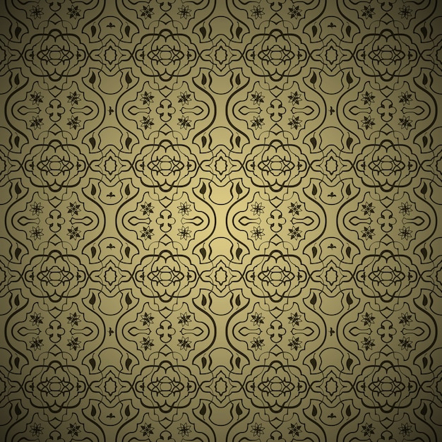 Vector seamless arabic background pattern. gold and black Free Vector