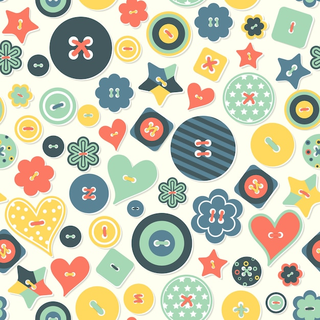 Vector seamless background of colored buttons different form. Premium Vector