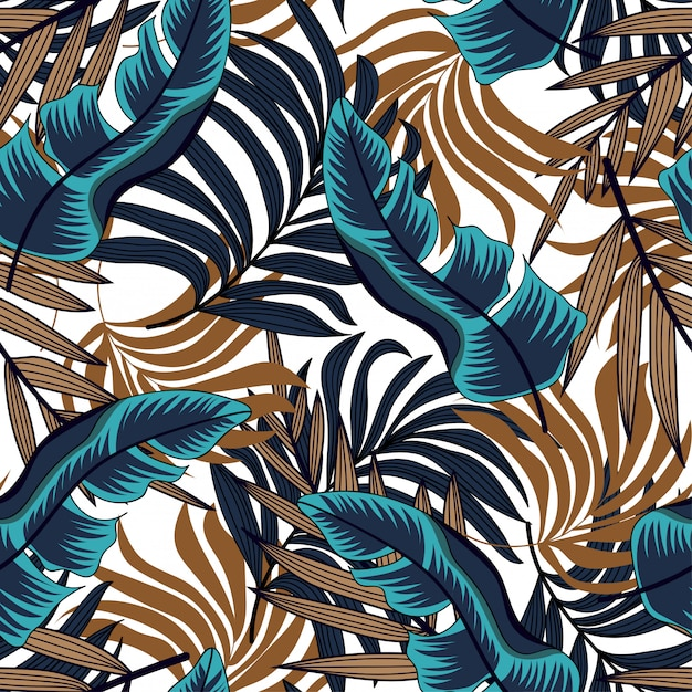 Vector seamless background design in tropical style. hawaiian exotic. summer print. Premium Vector