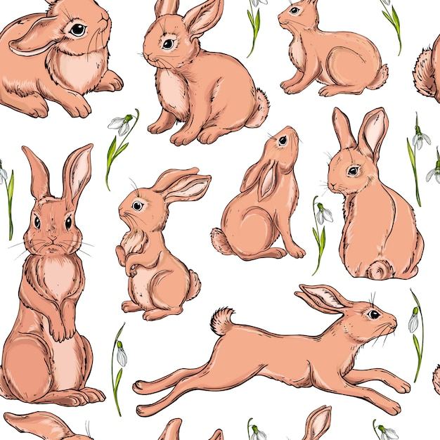 Vector seamless background with bunnies. Premium Vector
