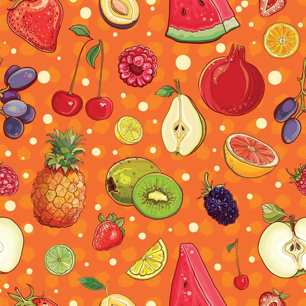 Vector seamless background with various fruits and berries Premium Vector