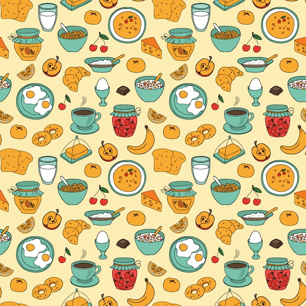 Vector seamless breakfast pattern Premium Vector