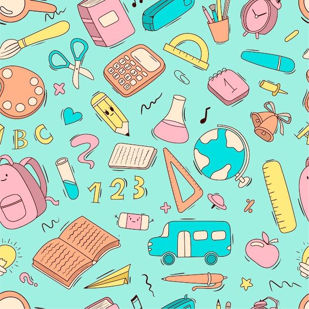 벡터 원활한 만화 패턴 학교 및 학교 용품, 문구, 책, 배낭, 스쿨 버스. 프리미엄 벡터