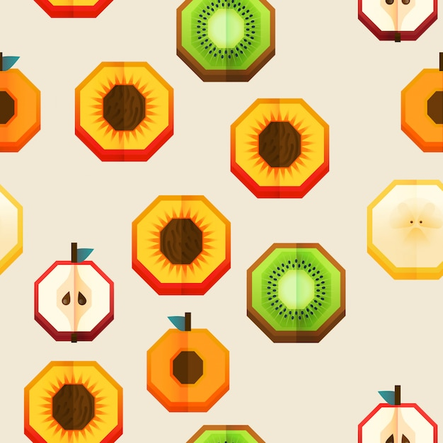 Vector seamless fabric pattern, print design with fruits half. Premium Vector