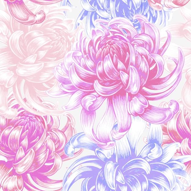Vector seamless floral pattern with chrysanthemum flowers. Premium Vector