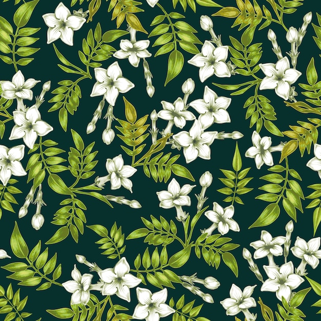 Vector seamless floral pattern with jasmine flowers. Premium Vector