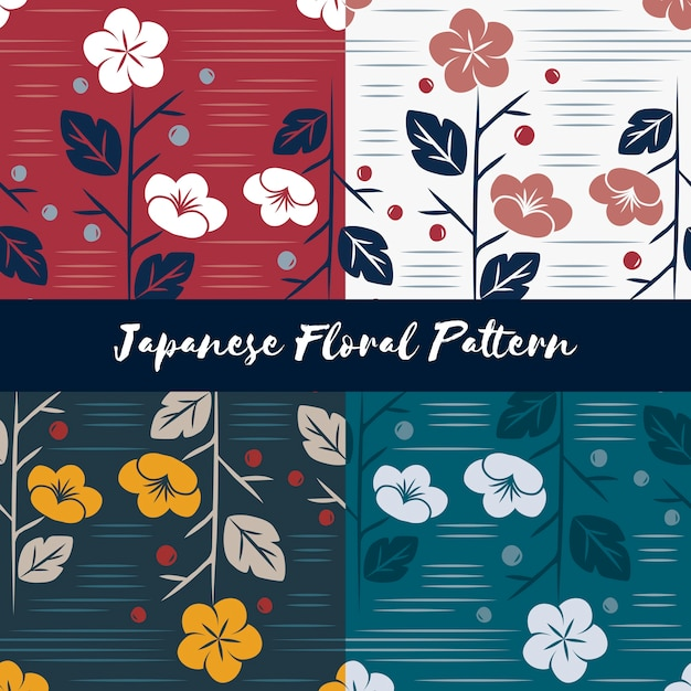 Vector of seamless japanese style floral pattern Free Vector