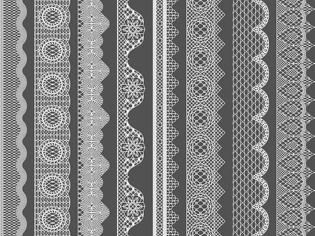 Vector seamless lace ribbon borders Premium Vector