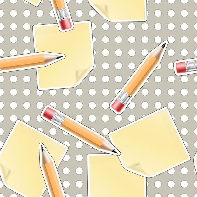Вектор бесшовные офисный фон с карандашами и листами Бесплатные векторы